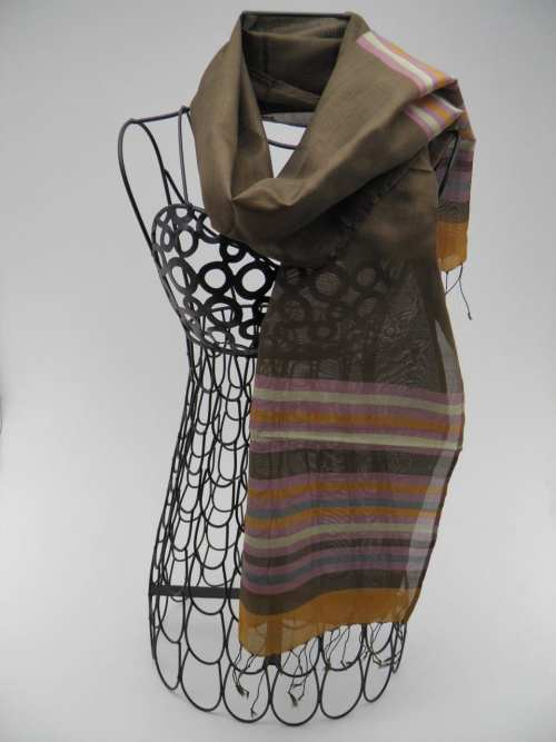 Essential Scarf – Striped Bronze-Silver