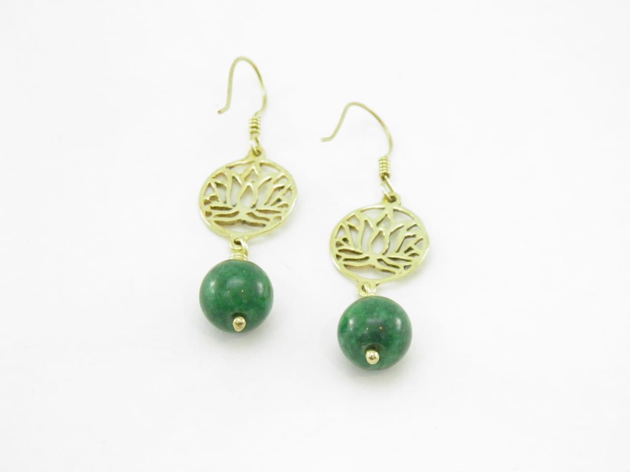 Les Boucles d'oreilles - Lotus et pierre - laiton recyclé - Vert