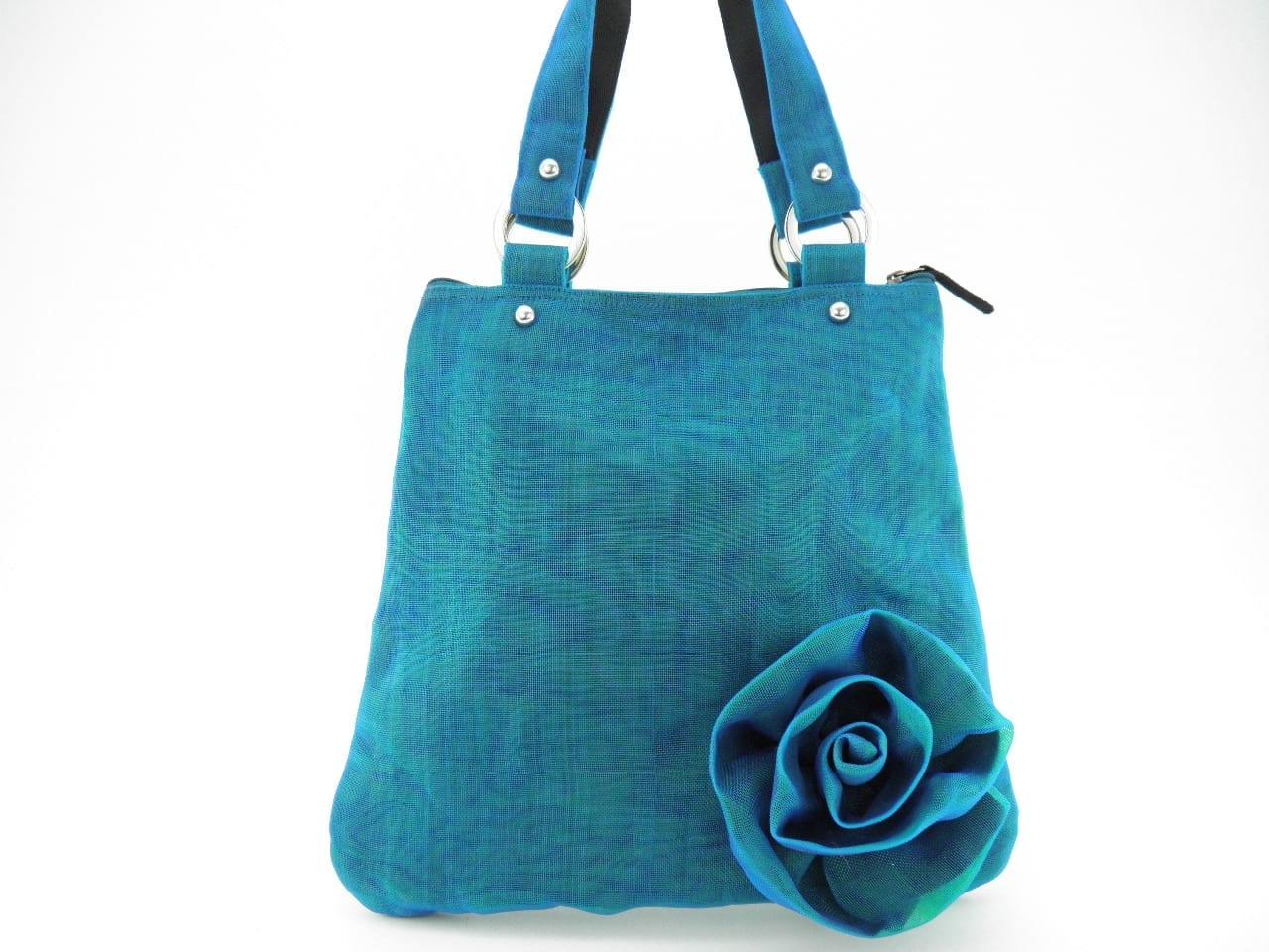 Le Fleuri - Cabas - Petit - Bleu pétrole