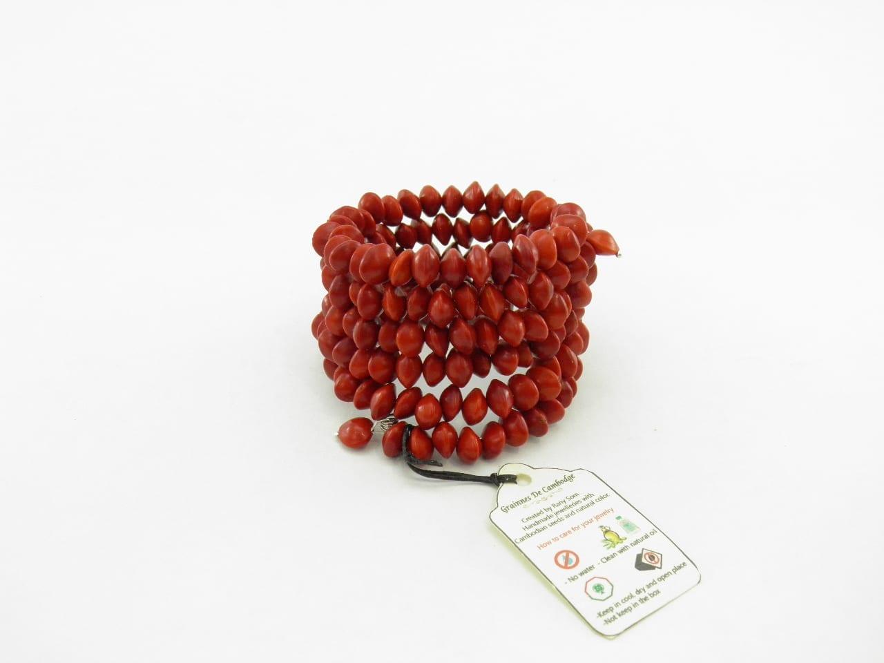 Le Spirale - Bracelet graines naturelles - Rouge