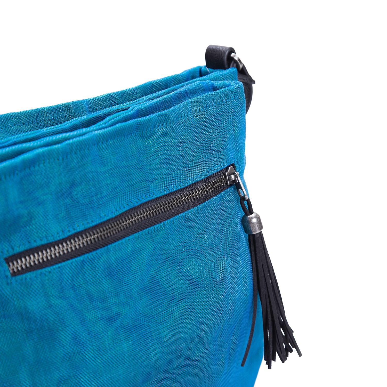 Le Double - Sac bandoulière éthique - Bleu pétrole - détail