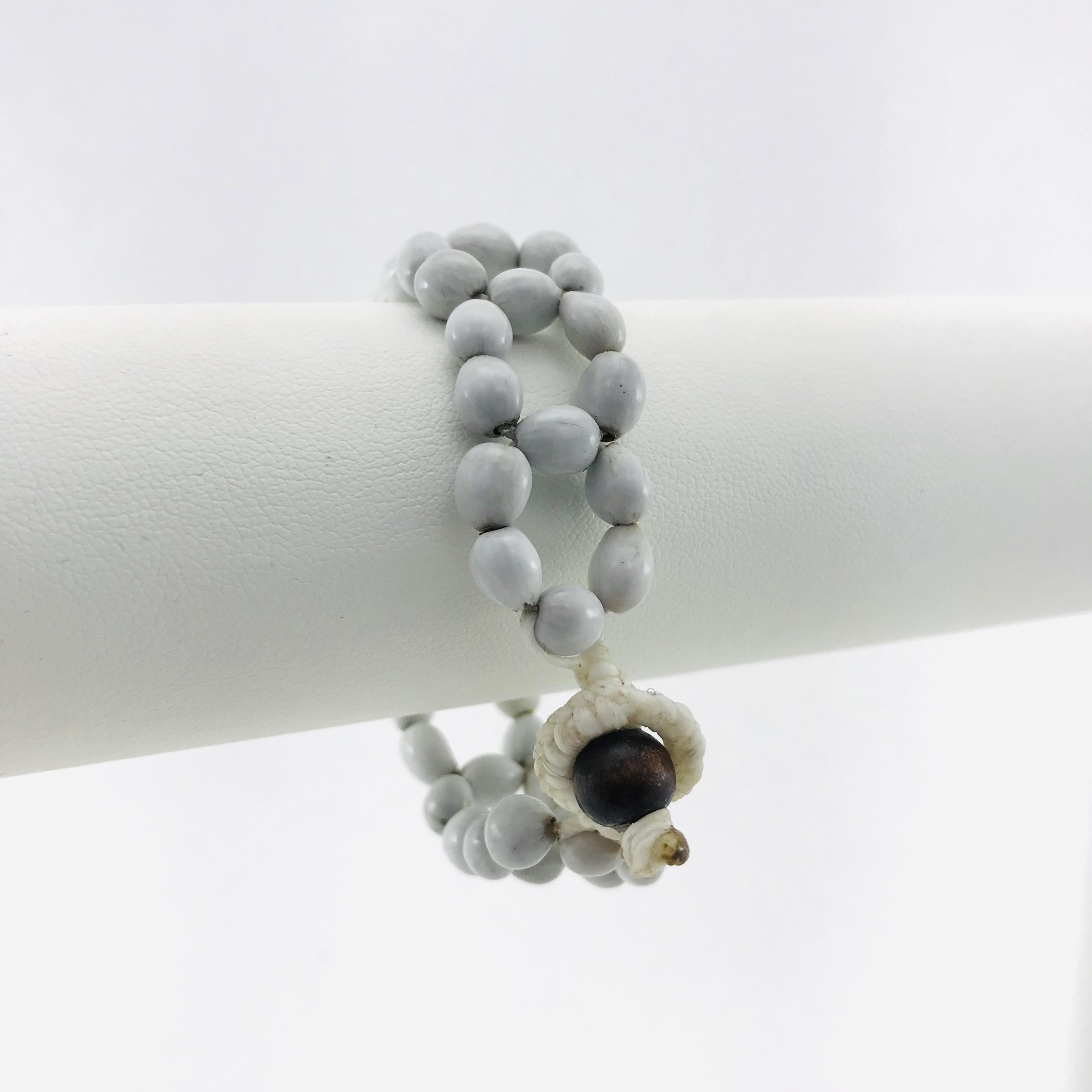 Le Fleur - Bracelet graines naturelles - Blanc - attache