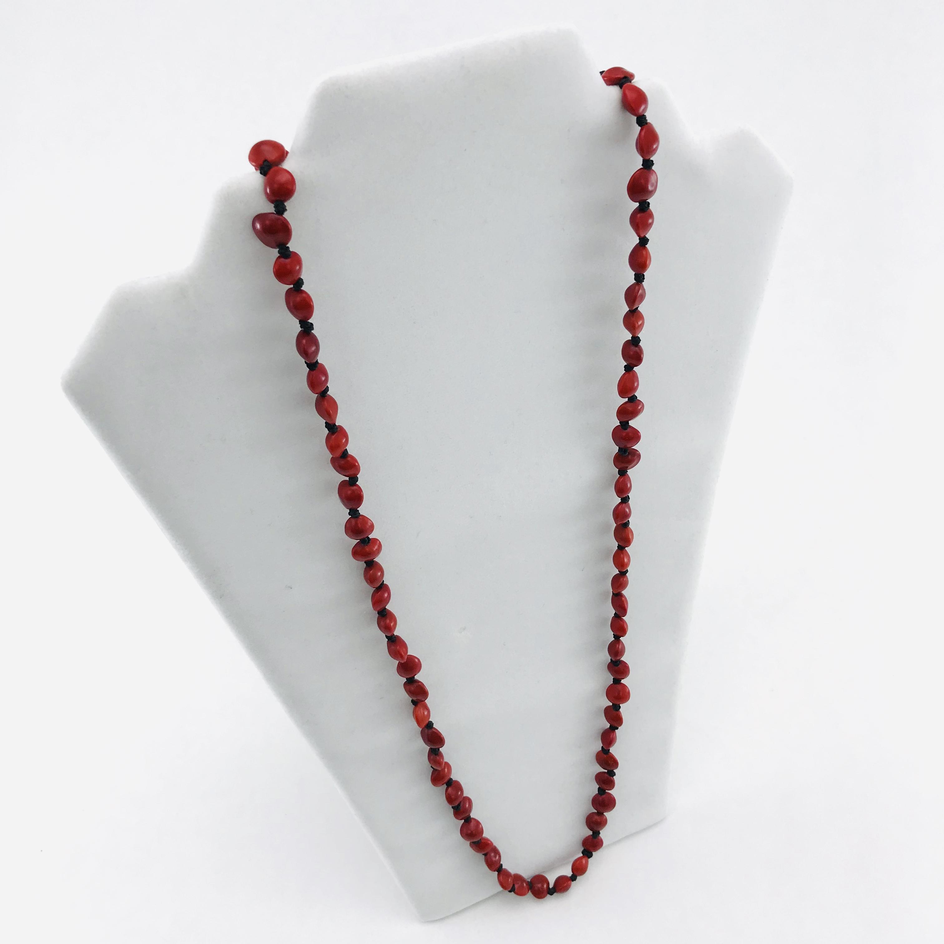L'infini - Collier graines naturelles - 1 rang - Rouge