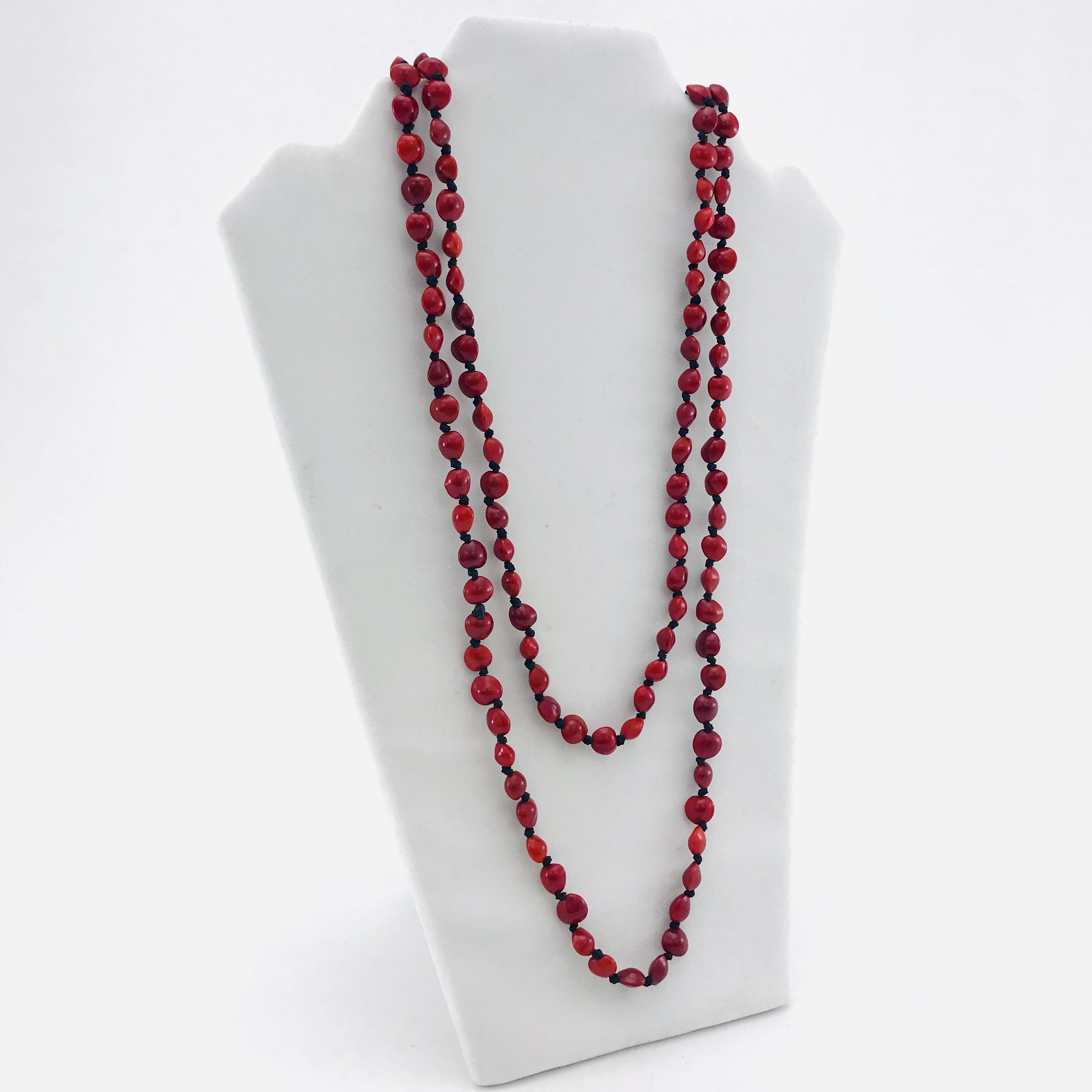 L'infini - Collier graines naturelles - 2 rangs - Rouge