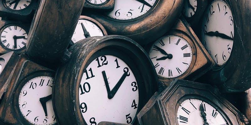 wooden clocks overlapping