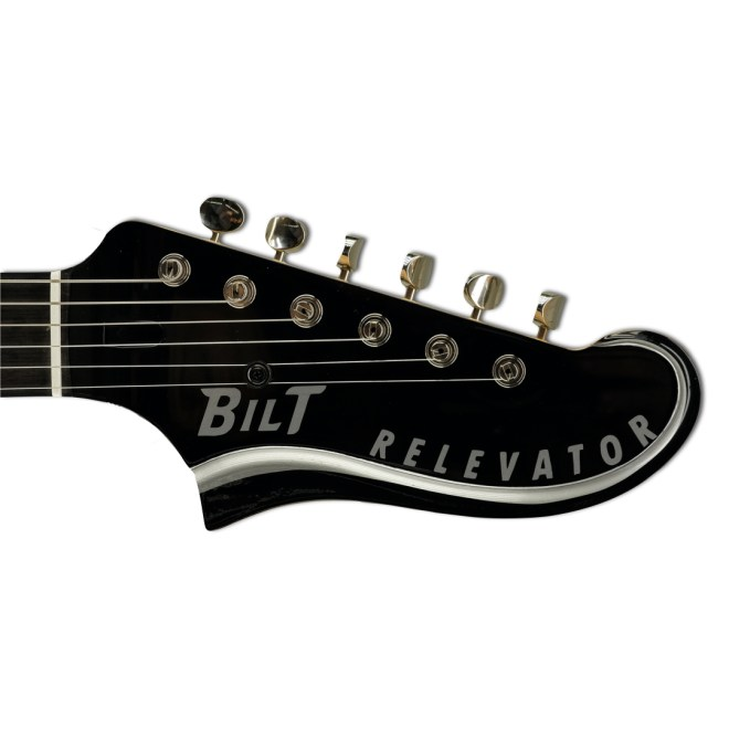 Headstock, Gloss Black/Silver Accent Relevator + Effects