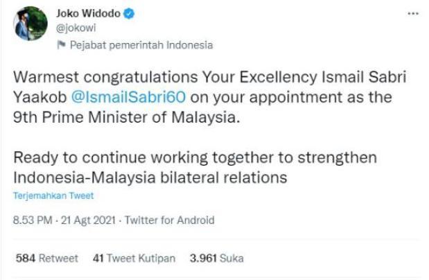 Fadli Zon Soroti Ucapan Selamat Jokowi ke Ismail Sabri Yaakob