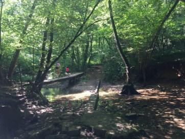 Papà e figlia che attraversano un ponte nel bosco del Curone