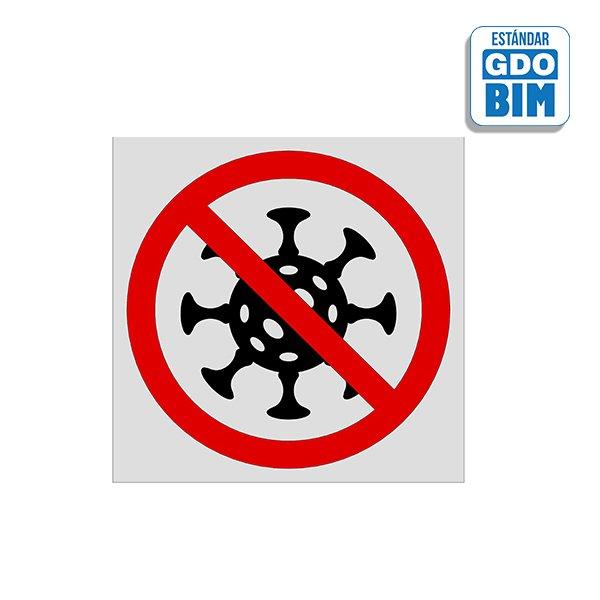 Señal o señalización en BIM para suelo COVID-19 - Detener COVID