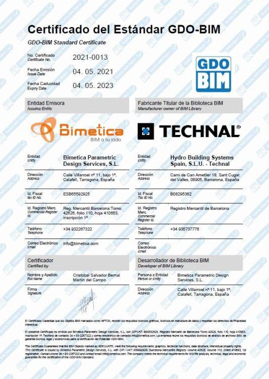 Imagen Certificado de Calidad Objetos BIM de Technal Estándar GDO BIM