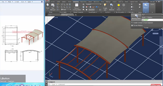 How to create a 3D canopy model with AutoCAD