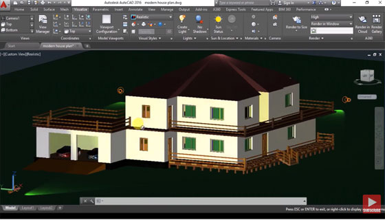 How to design a 3D house in AutoCAD