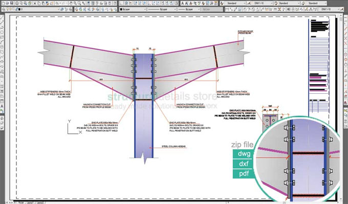 Download sample drawing of Double Span Portal Frame Beam Column Haunch Valley Connection