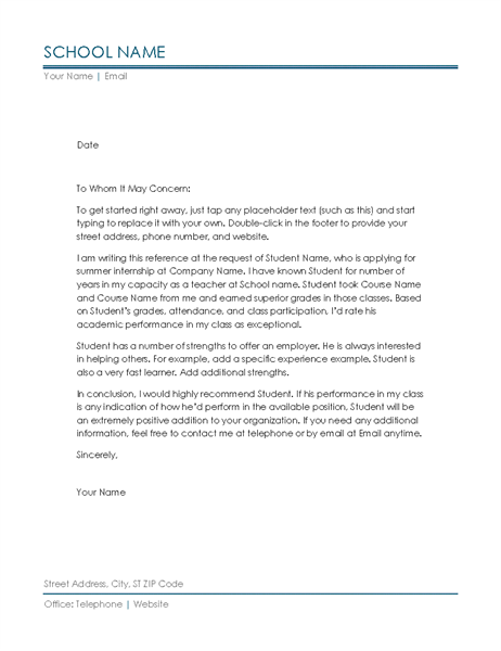 Reference Letter From Teacher