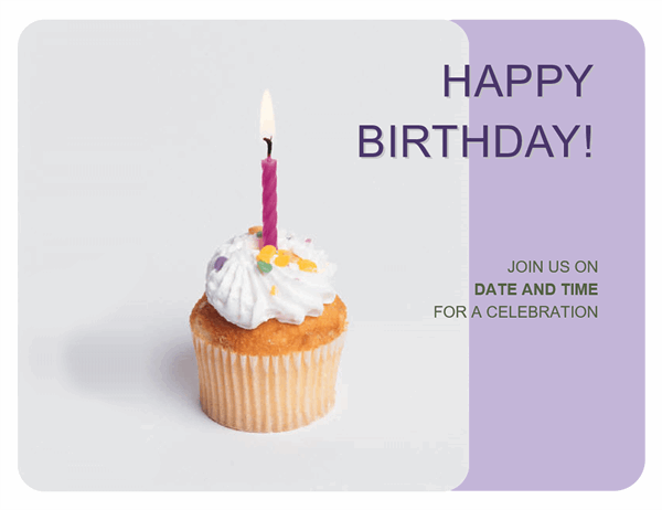 birthday invitation flyer with a cupcake