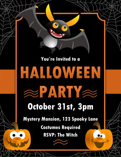 batty halloween invitation