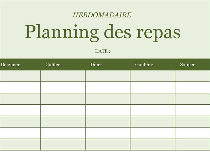 Planning Hebdomadaire Des Repas