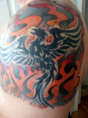 Added flames to the phoenix on my left arm.
