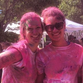 The wife and daughter were colorful after the dye bomb