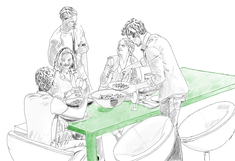 Sketch of friends at a cafe enjoying Binary Botanical Ale
