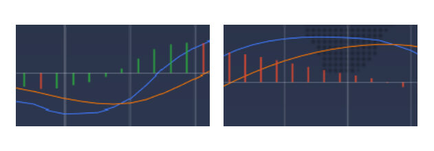 The green and the red bars indicate the distance between the slow and the fast MACD lines