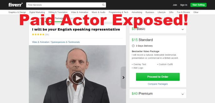 fake actor from fiverr