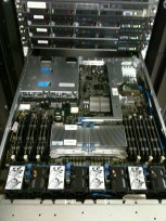 Inside of a fully configured sixth generation HP ProLiant DL360