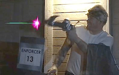 Screengrab of Bolt Vanderhuge firing a ray gun.