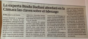 nota de prensa de liderazgo para la coach internacional Bindu Dadlani