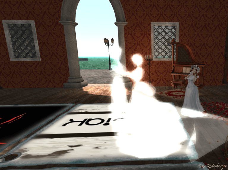 Bine playing the violin while a ghost couple dances