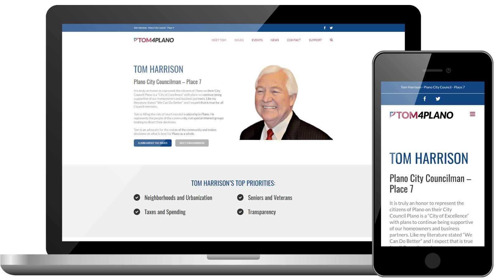 Tom Harrison Website Design for Plano City Council Race