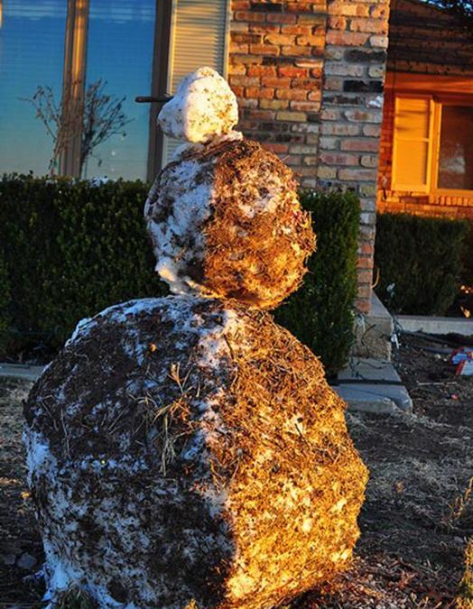 A West Texas snow man
