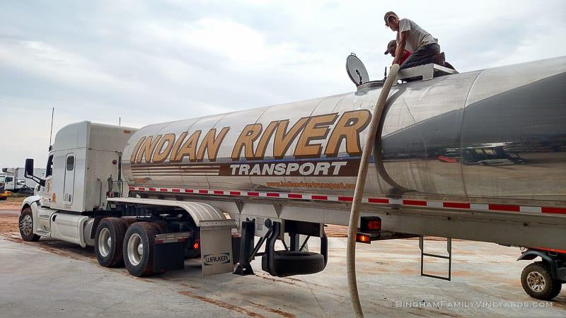 Transporting Texas grape juice