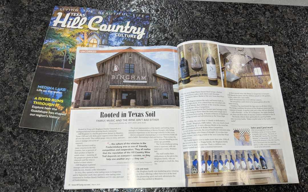 Bingham Family Vineyards in Texas Hill Country Culture Magazine, March 2019