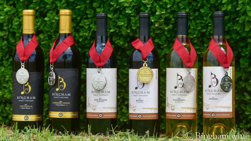 Bingham wine bottles with medals from San Francisco International Wine Competition.