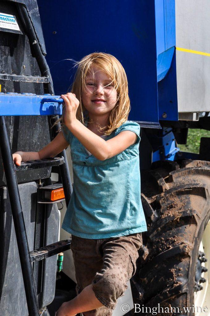 Little girl next to a grape harvester at Bingham Family Vineyards.