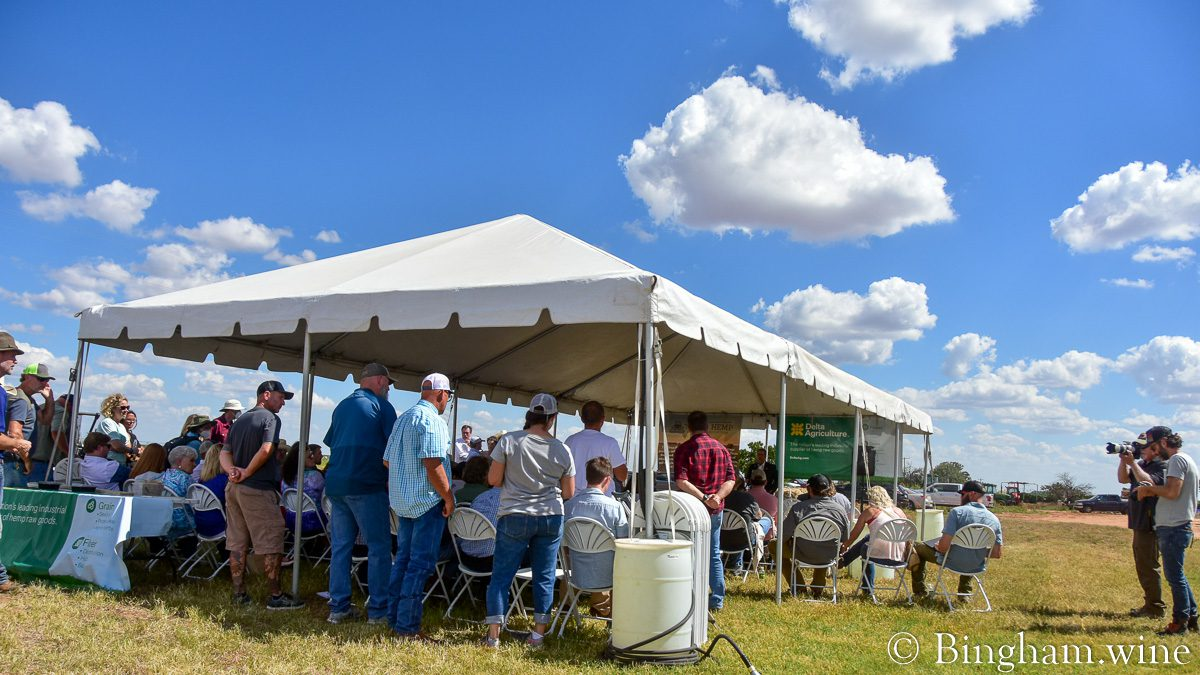 Tent for speakers at 2021 Texas Hemp Growers Field Day