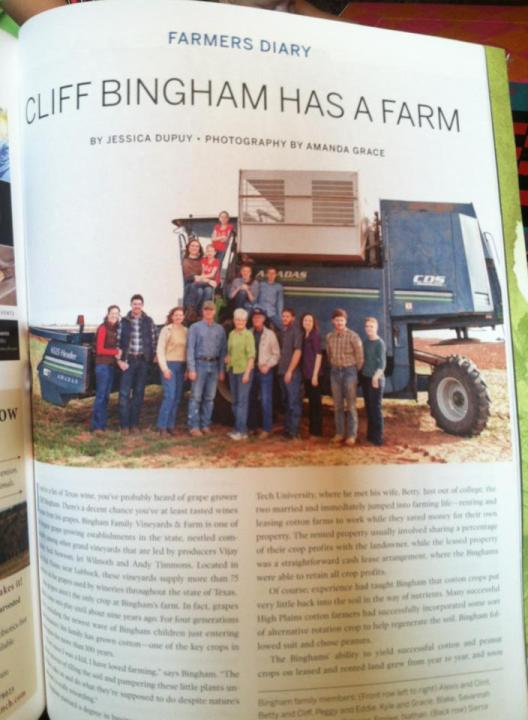 photo of magazine article about Cliff Bingham and his family written by Jessica Dupuy in 2013.