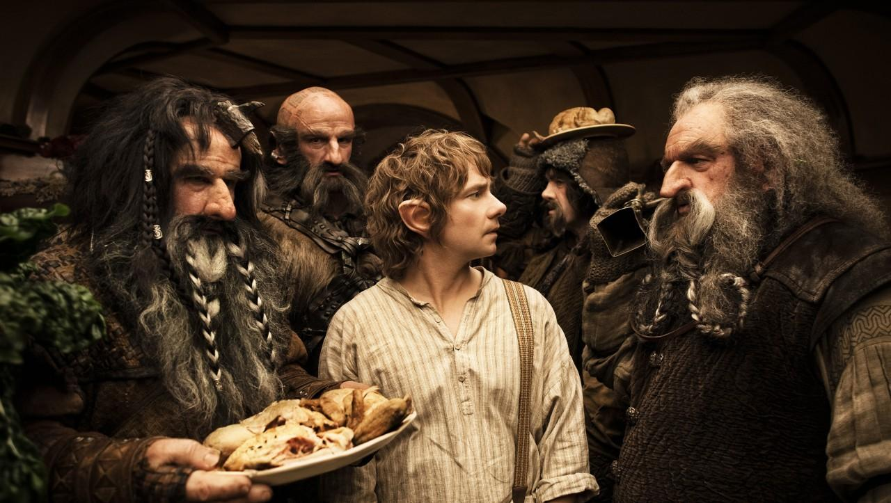 Bilbo Baggins is overwhelmed by the dwarves in his home.