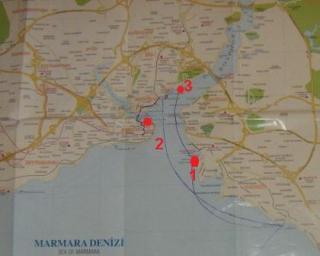 Karte mit Fährhafen