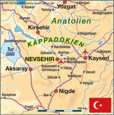 Karte Kappadokien