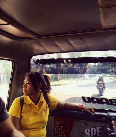 My wonderful Bahasa Indonesia teacher, Anggun in the back of an angot.