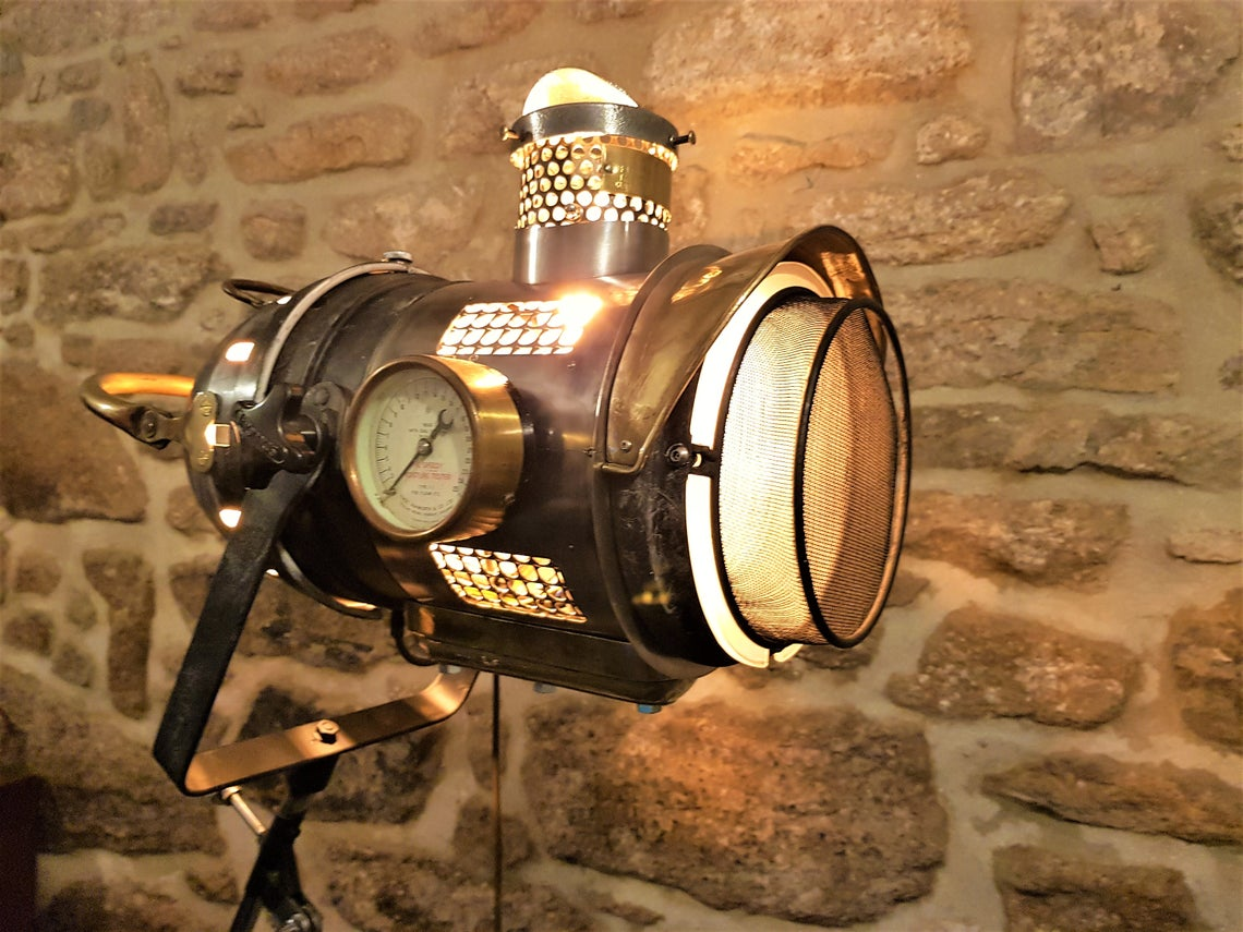 The Steampunk Tripod Searchlight lamp.