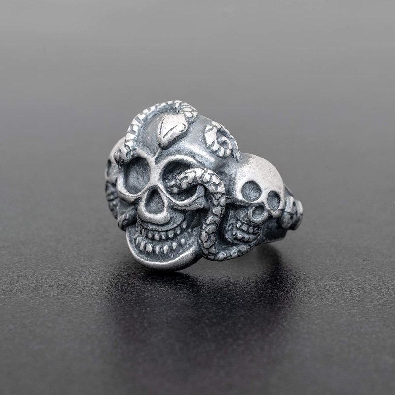 Steampunk Skull &Stake Ring In Sterling Silver.