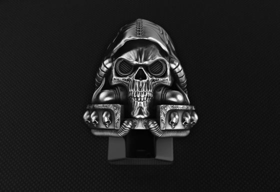 A Steampunk/Cyberpunk Inspired Sterling Silver Skull chaplain ring.