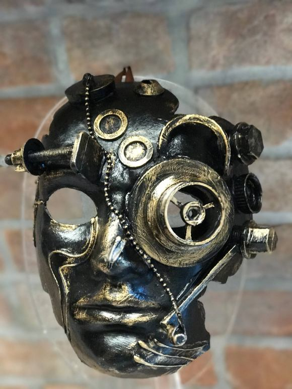 Steampunk Face Mask, Halloween Mask, Handmade in Papier-Mache