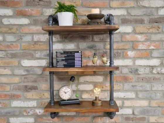 Wood And Pipe Steampunk Industrial Design Wall Shelf unit.