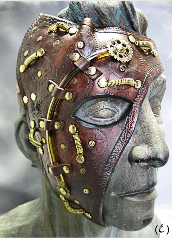 Steampunk Leather Half Mask.Created by i Leather-craft.