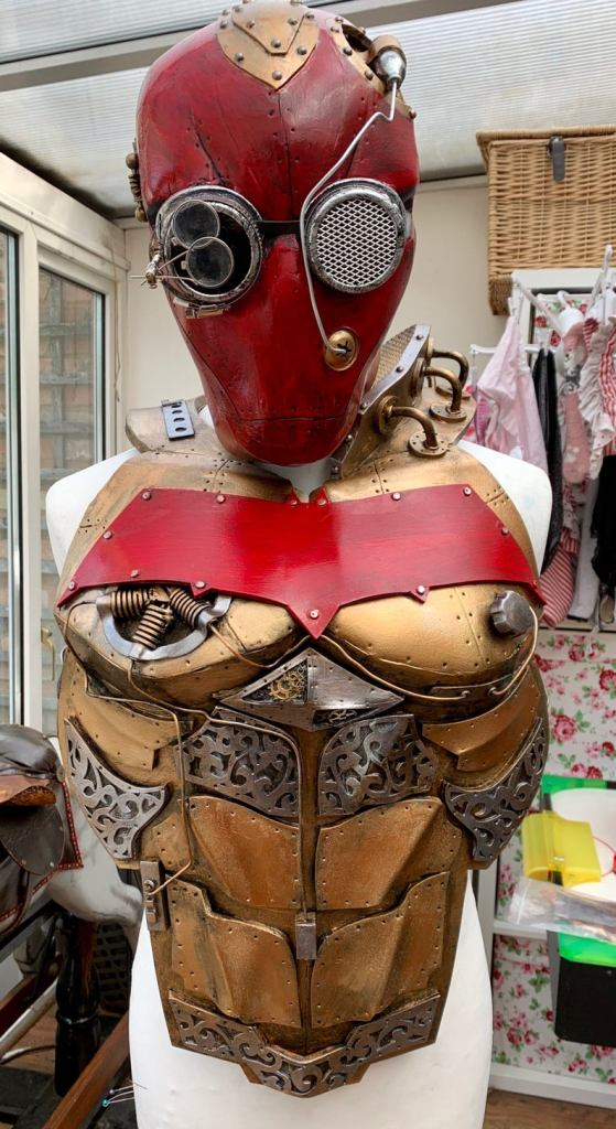 Steampunk Dc Red Hood Breastplate and Helmet. Created by UK Foamsmiths.