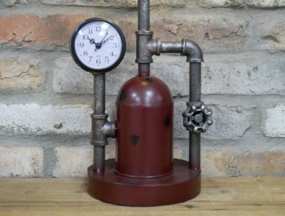 Steampunk Industrial Waterworks Lamp With Clock. Created by Sally of Homeware Emporium Co.
